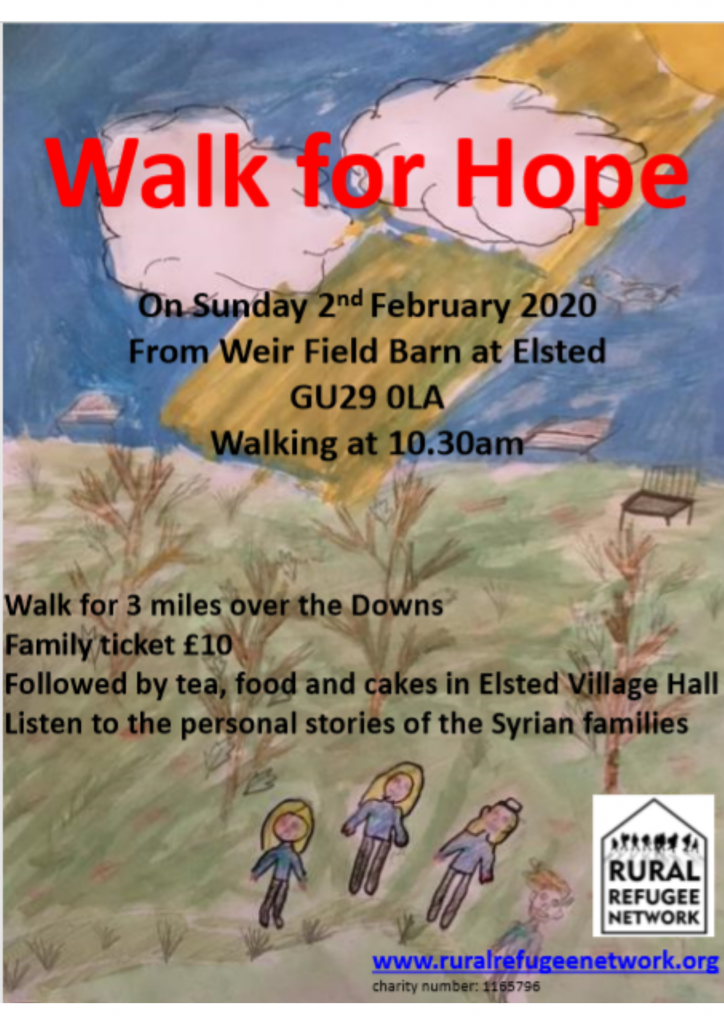 Every year since our foundling days, RRN has organised a walk in the local area. Our walk is The Walk of Hope. The original walk was our first event and launched the charity. This event gives people the opportunity to meet up others who support us, and hear about the wonderful work of RRN. The walk is about 3 miles and takes you cloe to the top of the Downs. Some of the walk is off public footpath and through glorious woods and fields. It could be muddy and cold but it is well worth the effort of putting on your boots and stomping through the mud to help raise money to support families from war torn countries settle into our local communities. Please bring your friends, dog and children. Afterwards enjoy a cup of tea, delicious homemade cakes and hot food whilst listening to the stories of some of the families we support.